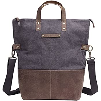 Kelly Moore Bag Collins Grey Canvas/Brown Leather Trim Tote