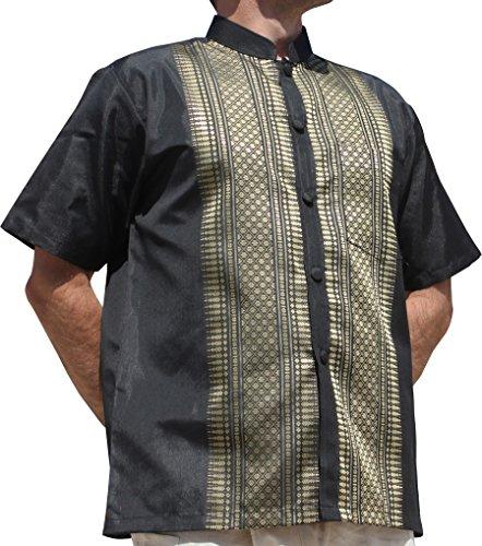 Raan Pah Muang RaanPahMuang Short Sleeve Formal Chinese Woven Motif Silk Shirt, X-Large, Black (Silk Clothes Thai)
