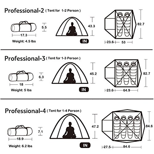 Topnaca 2-3-4 Person 3 Season Backpacking Tent, Waterproof Windproof Double Layer Double Doors Double Skylight Aluminum Rod, for Camping Hiking Travel (Azure, 4 Person)