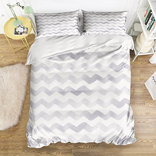 1 Light Ripple Bath (VANKINE Duvet Cover Sets Gradual Change Light Grey and White Chevron Zig Zag Ripple Pattern Full Size 4 Piece Sets with 1 Duvet Cover+1 Bed Sheets+2 Pillow Shams by)