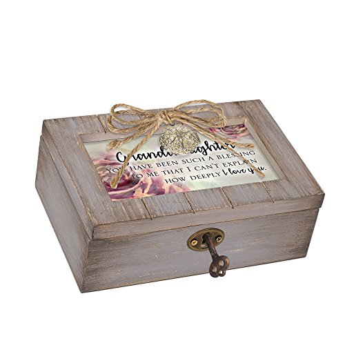 Cottage Garden Granddaughter Blessing to Me Grey Locket Petite Music Box Plays You are My Sunshine