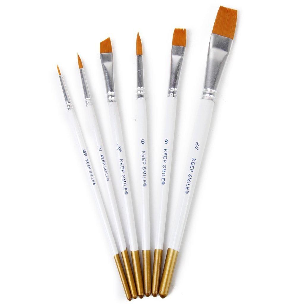 weimay acuarela Brush Set mango blanco –  Juego de 6