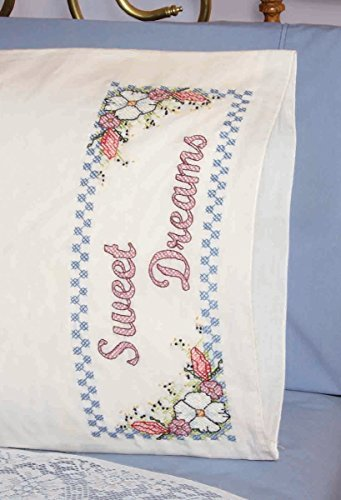 Fairway Needlecraft 83239 Cross Stitch Perle Edge Pillowcases, Sweet Dreams Design, Standard, - Stitch Dreams Cross