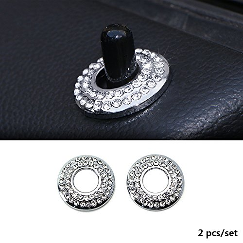 Thor-Ind 2PCS Door Lock Knob Trim Ring For BMW Mini Cooper Countryman Clubman 2007 UP Crystal Diamond Door Lock Cap Cover Protective Sticker (2pcs, Door Pin Diamond Ring)