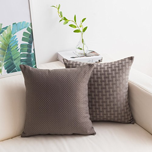 HOME BRILLIANT Set of 2 Lined Linen Cushion Covers Checkers and Dots Decorative Throw Pillow Covers for Couch/Bench/Bed, 18