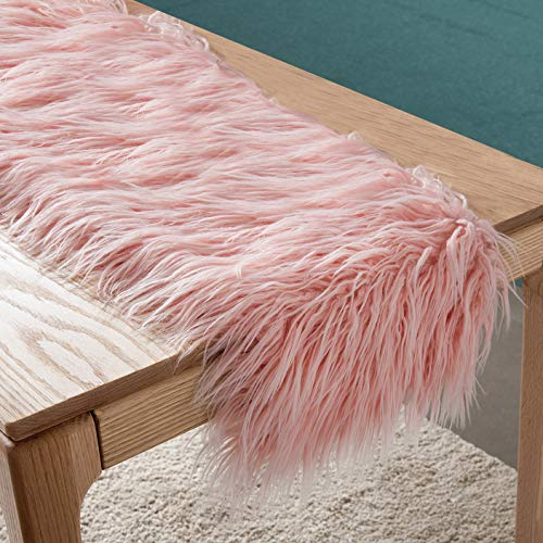 Faux Fur Table Runner Decorative Mongolian Fur Table Flag Modern Dining Fabric Bohemian Plush Table Bunting for Coffee Table Living Room Home Decor (Fur Bed Runner)