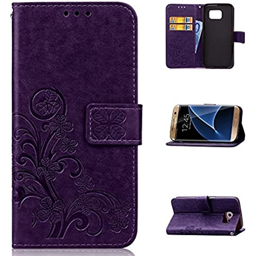 AMCHOICE(TM) Galaxy S7 Edge Case,S7 Edge Case,PU Leather Wallet Lucky Clover Pattern Stand Card Slots Case For Samsung Galaxy S7 Edge (Free Sales