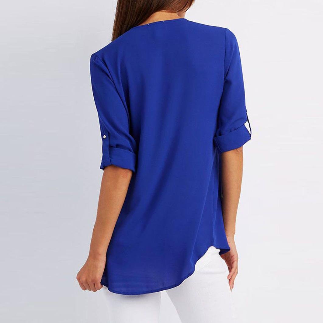 Fossen 2018 Spring Mujer Elegantes Blusas de Manga Larga Moda Cremallera Gasa Camiseta Camisas: Amazon.es: Ropa y accesorios
