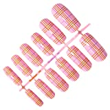 Beauties Factory Pre-designed Nail False Full Tips x 12pcs w/ glue - Pink Lady