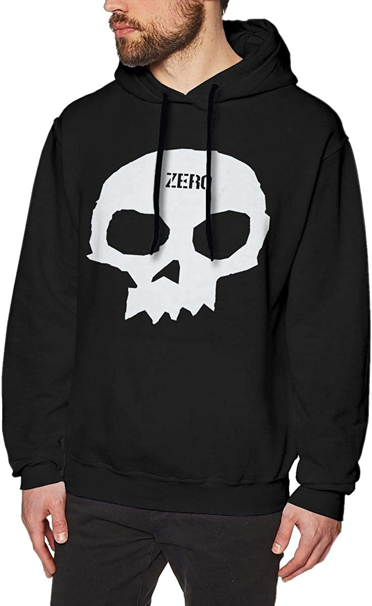 Eoinch Zero Skateboards Single Skull Mens Long Sleeve Sweatshirts Mens Hoodies Black