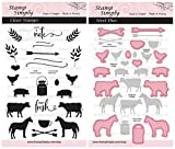Stamp Simply Clear Stamps Farmhouse Signage Farm Animal Ranch Theme and Die (2-Pack) 4x6 Inch Sheets - 36 Pieces