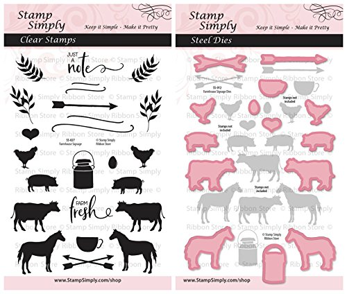 Stamp Simply Clear Stamps Farmhouse Signage Farm Animal Ranch Theme and Die 2 Pack - 36 Pieces
