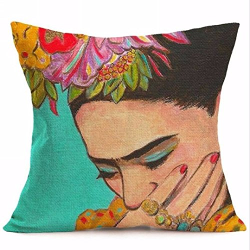 Home Decorative Cushion Cover Colorful Flowers Pillowcase 17 x 17 Inches Woven Pillow Covers Cotton Linen Home Decor Cushion Cover for Sofa (s7)