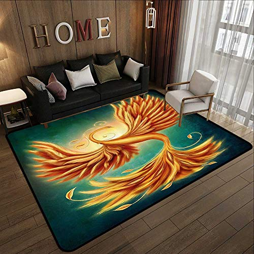 Truck mats,Modern Decor,Phoenix Magical Charming Bird Feathers with Alluring Swirls Artwork,Marigold and Emerald 47