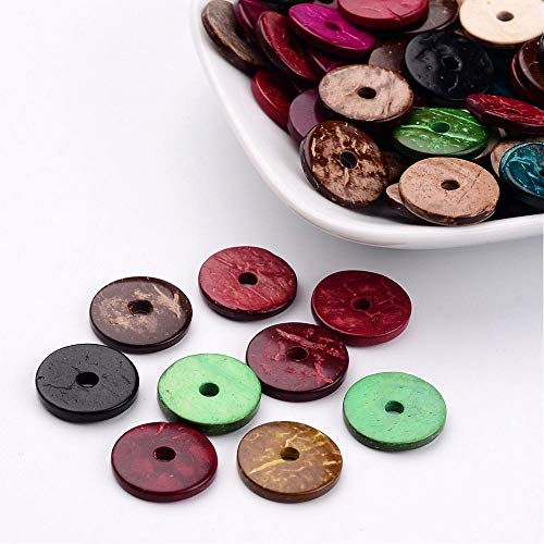 - Assorted Mixed Multicolor Loose Coconut Heishi Disc Beads for Jewelry Making, Crafts (15mm)