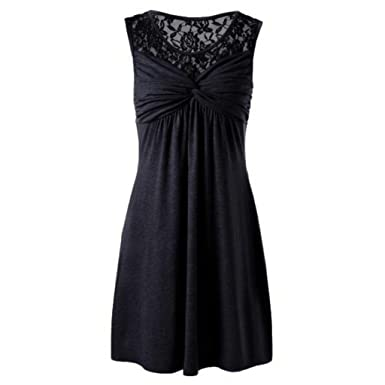 ESAILQ Dress, Women Summer Solid O Neck Sleeveless Lace Floral Patchwork Bow Party