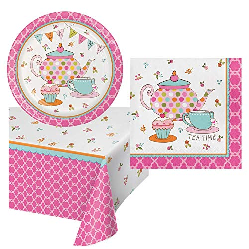 Tea Time Birthday Party Pack Tableware Supplies for Girls Set Serves 16 – Luncheon Paper Plates, Napkins, Table Cover – Disposable Party Supplies for Food and Cake