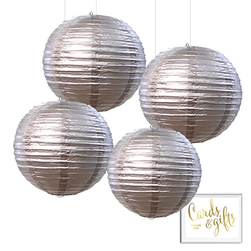 Andaz Press Hanging Paper Lantern Party Decor Kit with Free Party Sign, Silver, 4-Pack, New Years Eve 2018 2019 2020 25th 50th Wedding Anniversary Colored Event Supplies ()