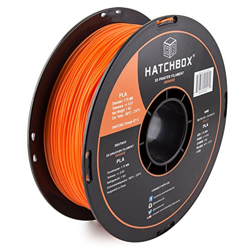 HATCHBOX PLA 3D Printer Filament, Dimensional Accuracy +/- 0.03 mm, 1 kg Spool, 1.75 mm, Orange