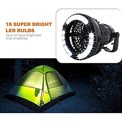 HAITRAL 2IN1 Portable LED Camping Lantern with Ceiling Fan 18 LED Flashlight Ceiling Fan for Outdoor Hiking Fishing Outages and Emergencies Tent