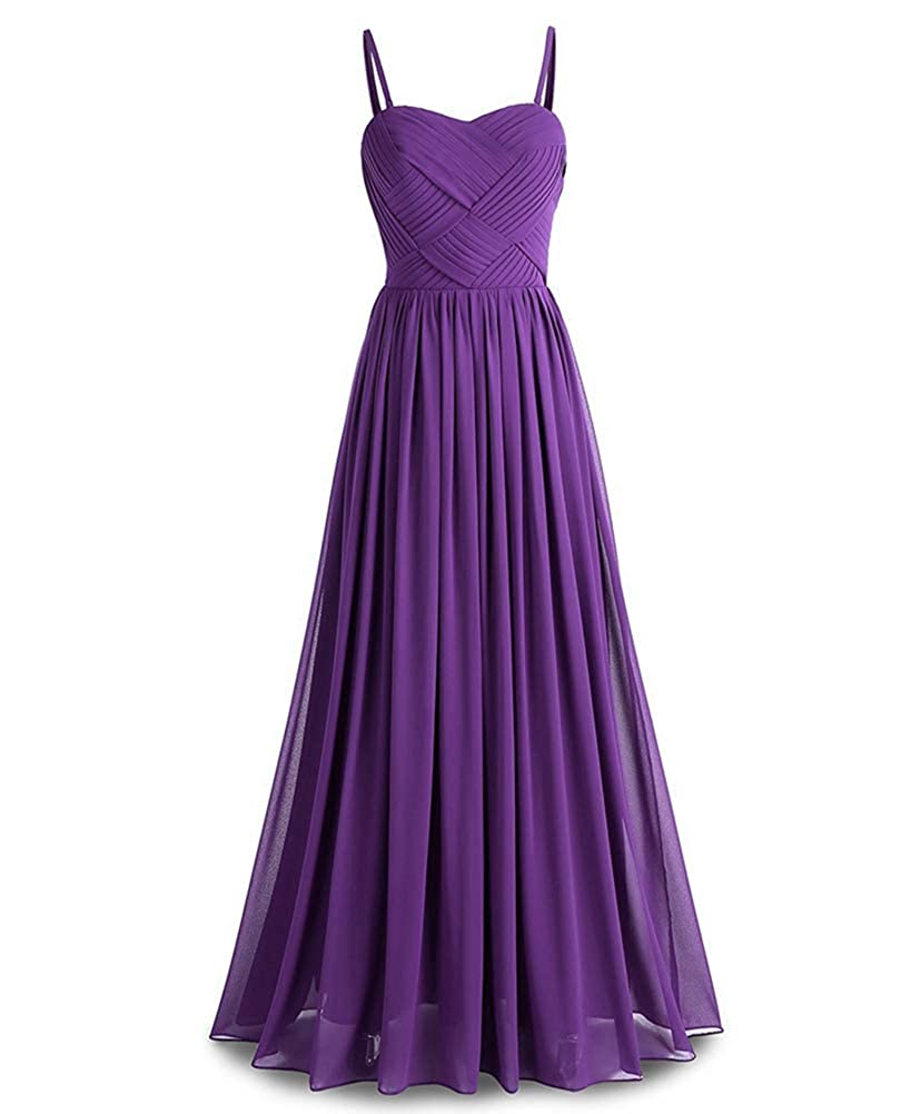 Purple Womens Thin Shoulder Strap Formal Long Evening Prom Dresses Ball Gowns