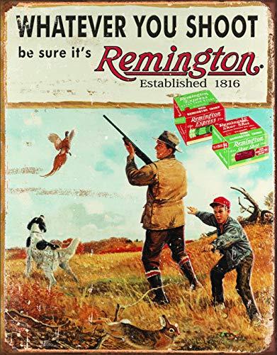 (Desperate Enterprises Whatever You Shoot Be Sure It's Remington Tin Sign, 12.5
