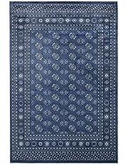 ECARPETGALLERY Blue Area Rug 8x10, Bokhara Oriental Carpet for Living Room