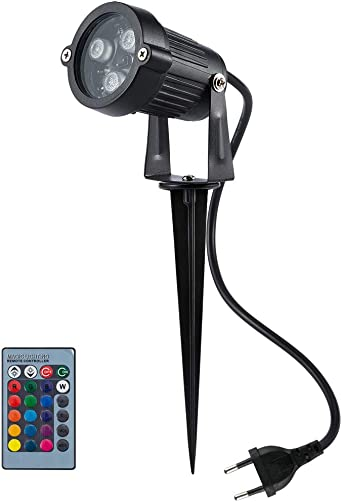 BLOOMWIN Foco Exterior LED Luces de Jardín 6W RGB IP65 Impermeable Proyector Lámpara de Césped 16 Colores y 4 Efectos Dinámicos con Control Remoto Estaca Luz Decorativa para Jardín Patio Camino Pared: