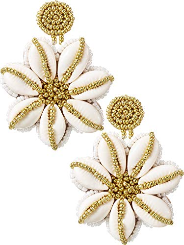 Beaded Shell Earrings Handmade Shell Earrings Bohemian Dangle Flower Eardrop for Women Girls Party Daily Favor (Gold)