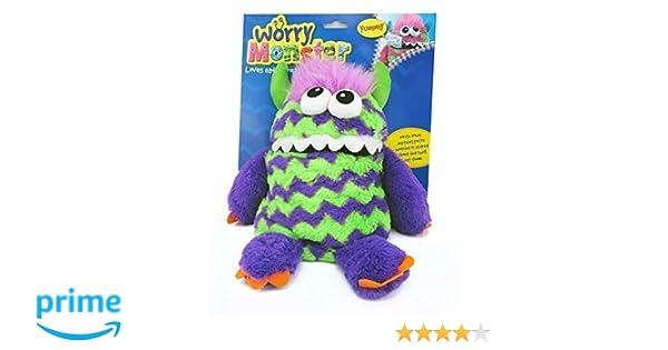 Preocupación monstruo peluche suave juguete púrpura y verde