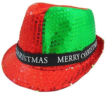 b8b3b72367b Amazon.com  88 MC Merry Christmas Light Up Flashing Fedora Hat Party ...