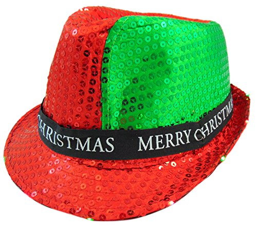 88 MC Merry Christmas Light Up Flashing Fedora Hat Party Wear with -