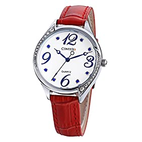 COMTEX Women Wristwatch Red Leather Strap Fashion Casual Rhinestone Lady Watches