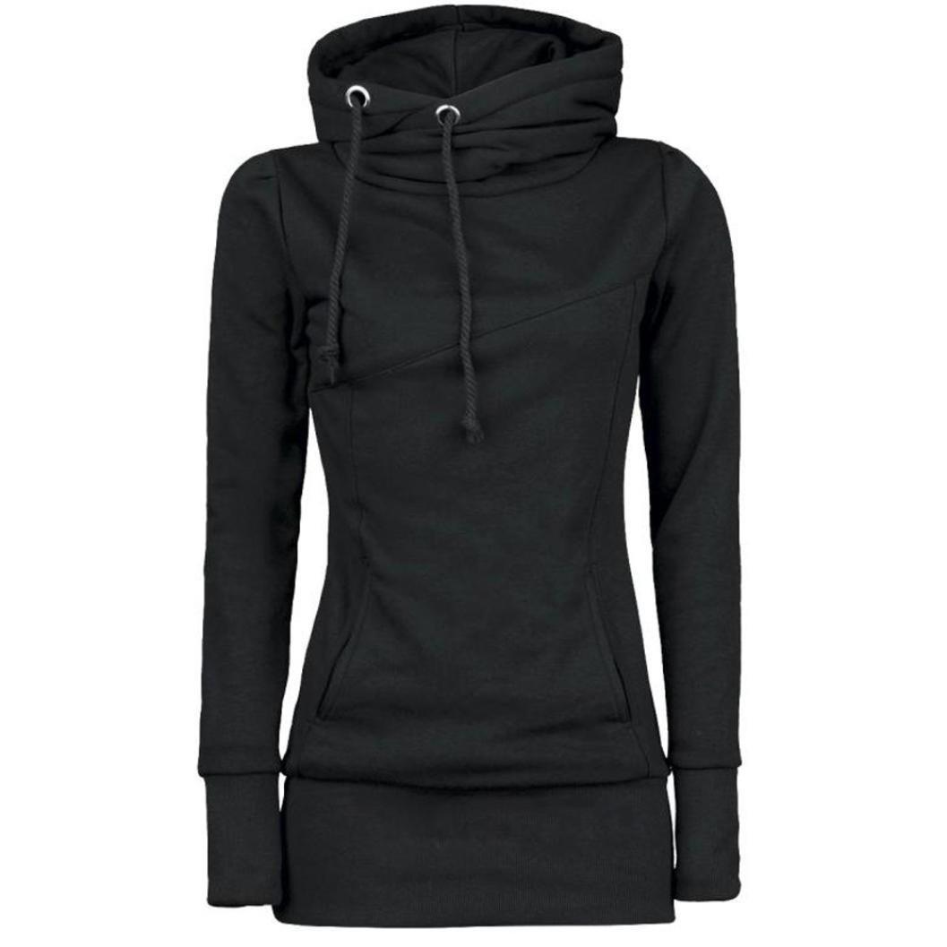 Women Plus Size Loose Long Hoodie Solid Funnel Neck Long Sleeve Sport Sweatshirt (Black,medium)