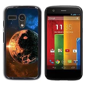 Qstar Arte & diseño plástico duro Fundas Cover Cubre Hard Case Cover para Motorola Moto G1 / X1032 ( Apocalypse Doomsday Planet Fire Sun Star Cosmos)
