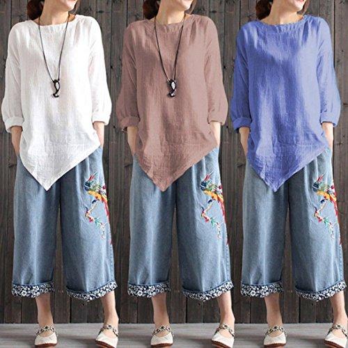Manches Chemise Casual Beikoard Blouse Femme Blanc Longues Manches Camisole Femmes Longue Mi Longues Shirt Lin T en Haut à Haut à Élégant Femme Coton Lâche wwg0Uvq