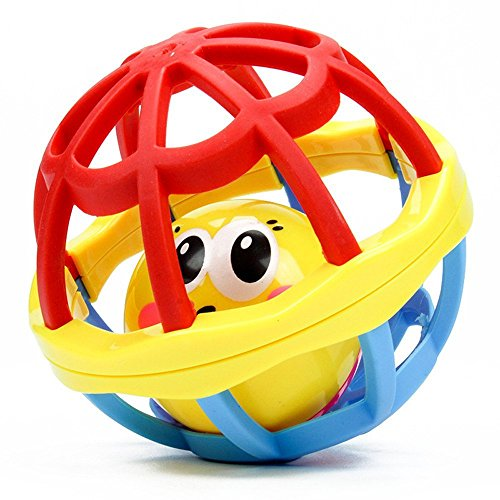 Rattles Ball Toy Baby Kids Musical Hand Shaker Bell Jingle Ring Grasping Soft Rubber Ball Toy 1925cm