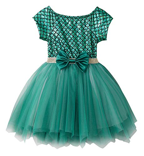 Tulle Mermaid Dress - Fiream Soft and Comfortable Well-Made Mermaid Short Sleeve Princess Tulle Dress(JP014,5-6Y)