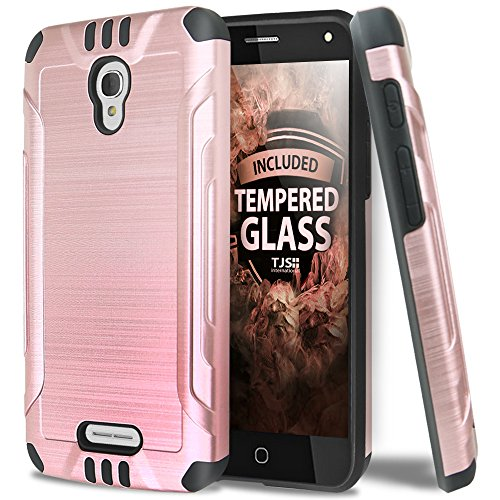 Price comparison product image Alcatel Fierce 4 Case, OneTouch Allura Case, Pop 4 Plus Case With TJS Tempered Glass Screen Protector, Dual Layer Shockproof Hybrid Armor Protection Metallic Brushed Finish Case (Black/Rose Gold)
