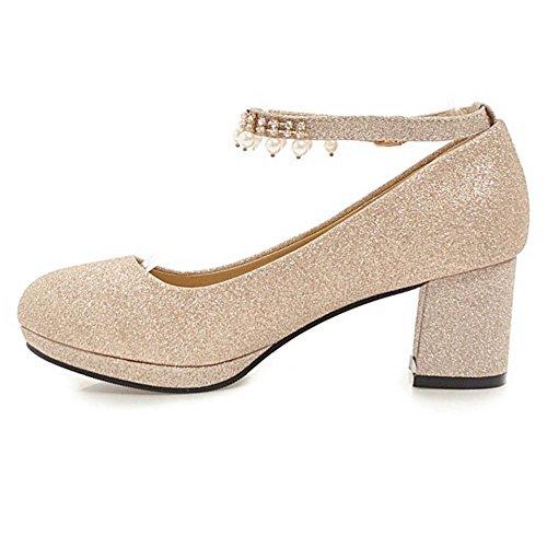 Pumps Women Gold KemeKiss Glitter Block Heel ptd8n7