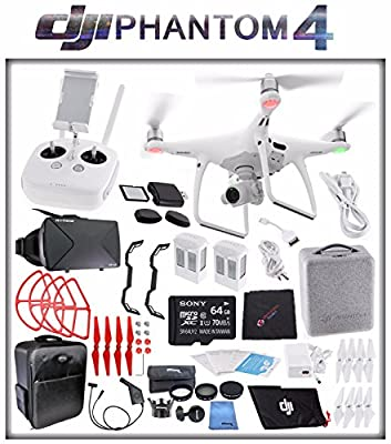 DJI Phantom 4 Quadcopter + Sony 64GB microSDXC Card + DJI Intelligent Flight Battery (2X TOTAL) + Card Reader + Cloth + Backpack + Car Charger & Adapter + 2 Pairs Propeller Blades (Red) Bundle