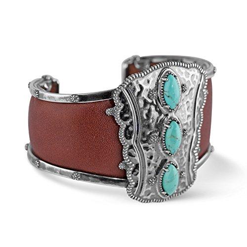 American West Jennifer Nettles Genuine .925 Sterling Silver Turquoise Leather Cuff Bracelet
