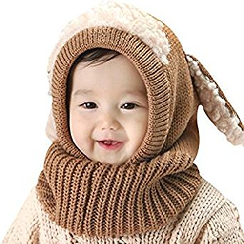 Warm Baby Boys Girls Hat Scarf Set Cute Knitted Cotton Hats(Red) - 9