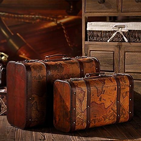 GFEI Vintage maleta portatil antiguo caja de madera, caja de cuero / de la tierra, la decoracion de la ventana, mostrar props
