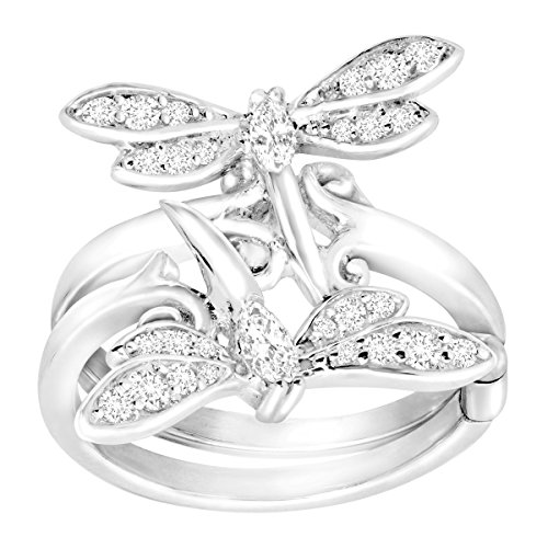 Finecraft Dragonfly Swing Ring With Cubic Zirconia In Sterling Silver-Plated Brass