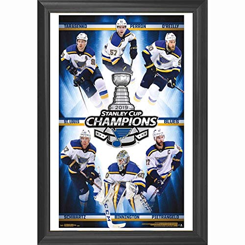 St Louis Blues Stanley Cup Champions 2019 Wall Art Decor Framed Print | 24x36 Premium (Canvas/Painting Like) Textured Poster | NHL Hockey Team | STL Blues Fan Jersey Gifts for Guys & Girls Bedroom