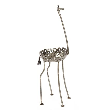 Exceptionnel African Recycled Metal Giraffe Plant Holder Statue, Small