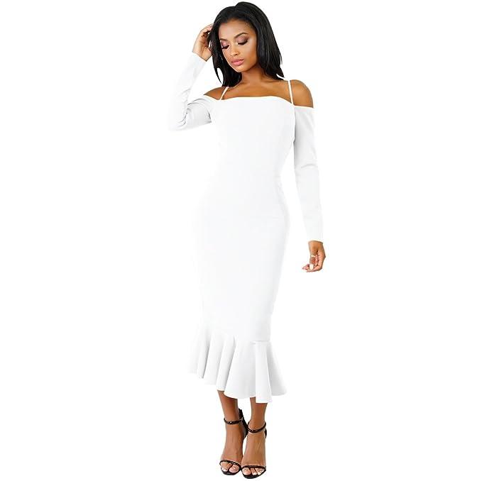 LINNUO Mujer Vestido con Volantes Bodycon Vestido Elegante Casual para Fiestas Ceremonias De Moda Mini Vestido: Amazon.es: Ropa y accesorios