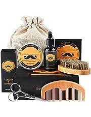 Fixget baardverzorgingsset, voor mannen, wildzwijnharen, baardborstel, baardkam en baardolie en baardbalsem & baardschaar & canvas reistas, ideale cadeauset voor heren (5 stuks)