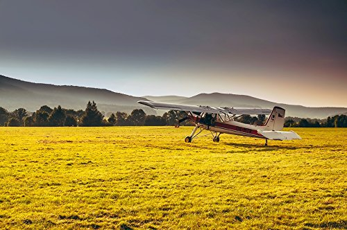 Home Comforts Peel-n-Stick Poster of Airplane Czech Republic Mountains Plane Landscape Poster 24x16 Adhesive Sticker Poster Print